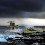 storm at Blackrock, Galway. john mc hugh