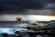 storm at Blackrock, Galway. john mc hugh